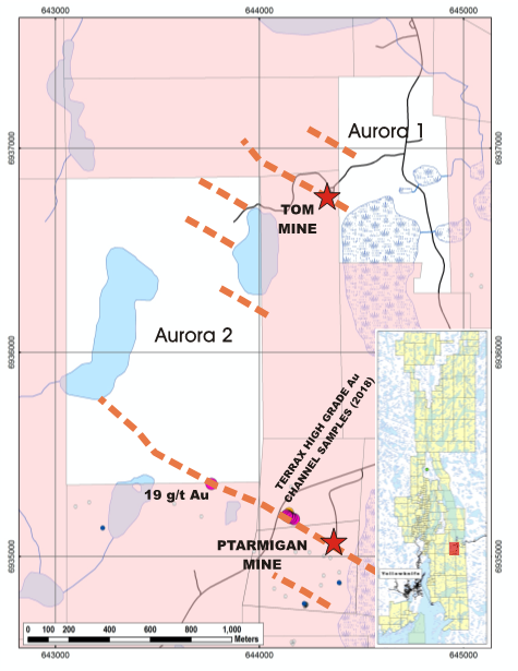 TerraX Acquires Strike Extensions of Past Producing Gold Mines, Ptarmigan and Tom in the Yellowknife gold camp, Canada